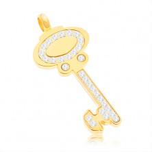 Prívesok z chirurgickej ocele - kľúč zlatej farby zdobený čírymi zirkónmi