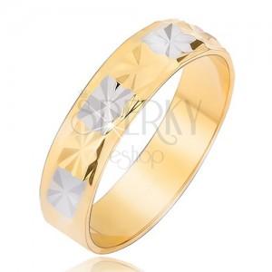 Lesklá obrúčka s diamantovým vzorom zlato-striebornej farby