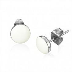 Šperky eshop - Puzetové náušnice z chirurgickej ocele - lesklé biele kruhy A15.14