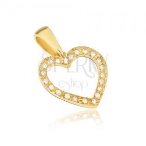 Prívesok zo žltého 14K zlata - kontúra pravidelného srdca, zirkóny