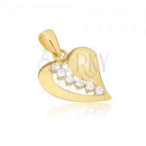 Zlatý prívesok 585, ploché vypuklé nesúmerné srdce, zirkónový pás, výrez