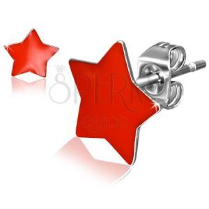 Puzetové oceľové náušnice, lesklé červené hviezdy