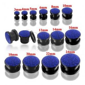 Okrúhly tunel plug čiernej farby s modrými glitrami