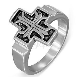 Oceľový prsteň, Fleur de Lis v patinovanom latinskom kríži