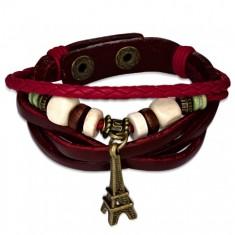 Šperky eshop - Zapletaný hnedý kožený náramok, červené pletence, Eiffelova veža Z20.01