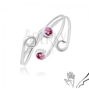 Strieborný prsteň 925 na ruku alebo nohu, rozvetvené ramená s fialovými zirkónmi