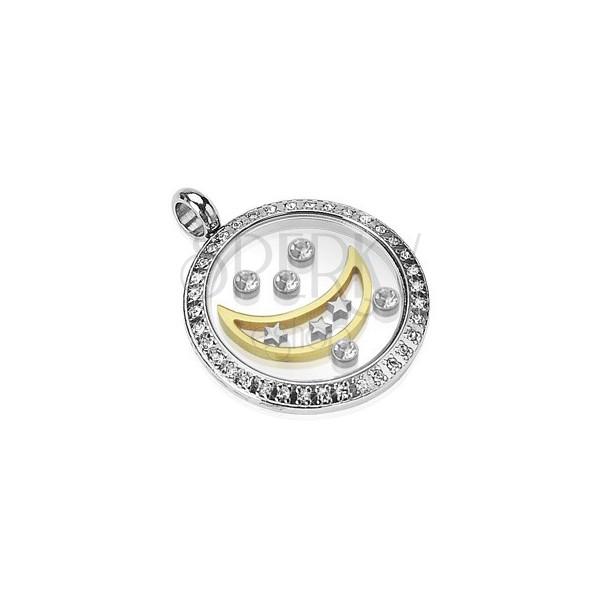 Prívesok z chirurgickej ocele - kruh s mesiacom, hviezdami a zirkónmi