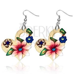 FIMO náušnice, asymetrické srdcia s farebnými kvetmi a kamienkami