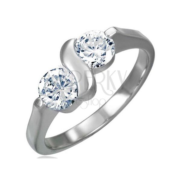 Zásnubný prsteň z chirurgickej ocele s dvojitým zirkónom s esíčkom