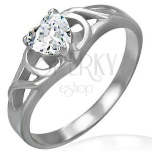 Zásnubný prsteň srdce zirkón a ozdobný úplet