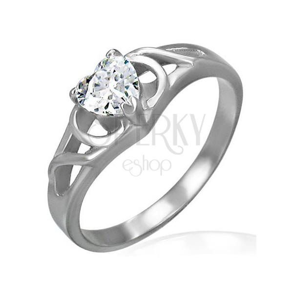 Zásnubný prsteň z chirurgickej ocele - číre zirkónové srdce, ornamenty