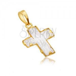 Zlatý prívesok 585 - kontúra latinského kríža vyplnená zirkónmi
