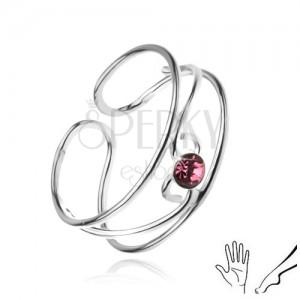 Prsteň zo striebra 925, vlnky s ružovým kamienkom