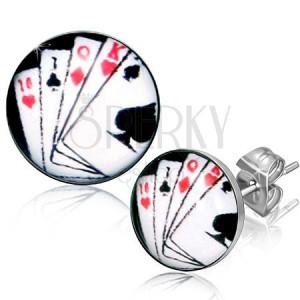Puzetové náušnice z chirurgickej ocele, hracie karty