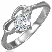 Zásnubný prsteň z chirurgickej ocele so zirkónom čírej farby a dvoma slučkami