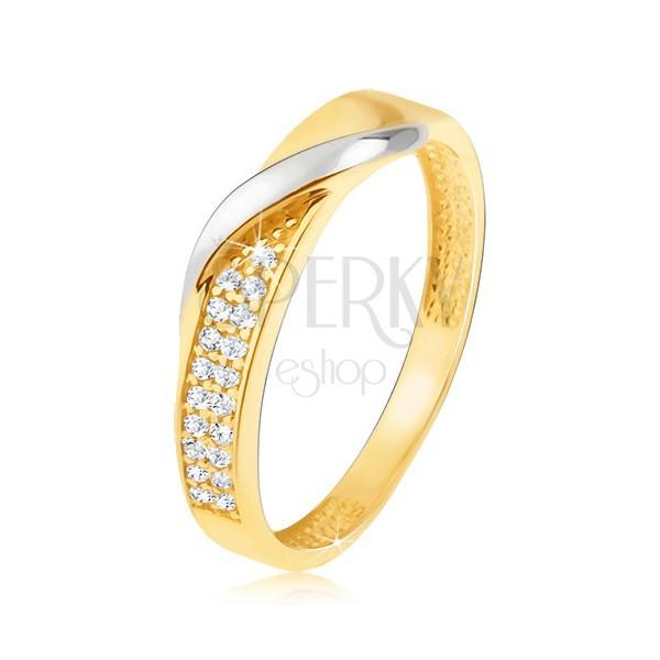 1aa72cb09 Zlatý prsteň 585 - pás drobných čírych zirkónov, zvlnená línia v bielom  zlate ...
