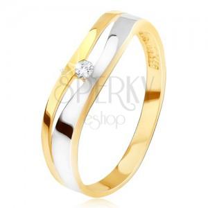 Prsteň zo zlata 14K, zvlnená rozdvojená línia, číry zirkón, dvojfarebný