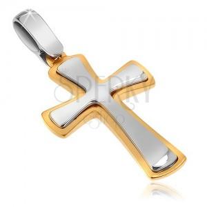 Dvojfarebný prívesok zo zlata 14K - lesklo-matný kríž, rozširujúce sa ramená