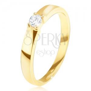 Zlatý prsteň 585 - lesklý, hladký, okrúhly číry zirkón v kotlíku
