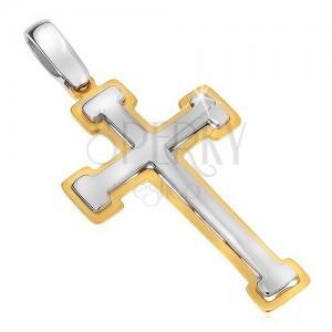 Prívesok zo zlata 14K - dvojfarebný barličkový kríž, lesklo-matný