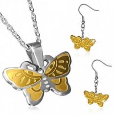 Dvojfarebný oceľový set - motýlie náušnice a retiazka s príveskom