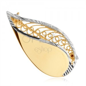 Brošňa v žltom 14K zlate - ligotavá slza s filigránovým zdobením