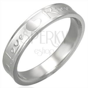 Oceľový prsteň striebornej farby, matný stred a lesklé okraje, Love & Kiss