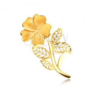 Zlatá brošňa 585 - pieskovaný kvet na stonke s filigránovými lístočkami