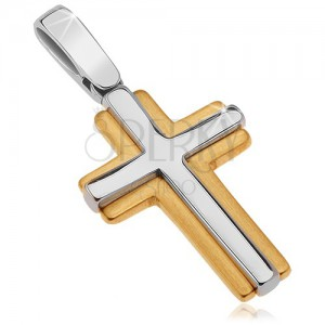 Prívesok v 14K zlate - lesklo-matný dvojfarebný latinský kríž