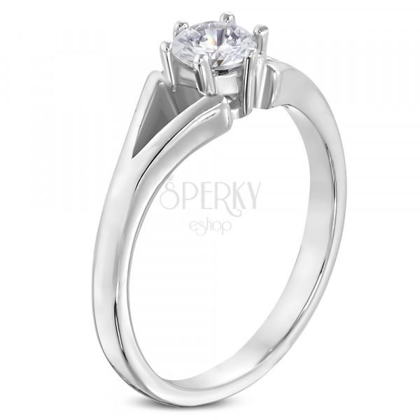 Oceľový prsteň striebornej farby - zásnubný, rozdelené ramená, číry zirkón