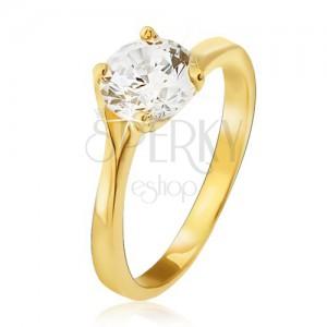 Prsteň v žltom 14K zlate - číry okrúhly zirkón v kotlíku, rozdvojené ramená