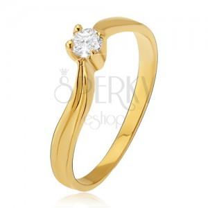 Zlatý prsteň 585 - lesklé zvlnené ramená, priehlbina, číry kamienok