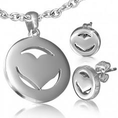 Set z chirurgickej ocele - náušnice a prívesok, symetrické srdce v kruhu