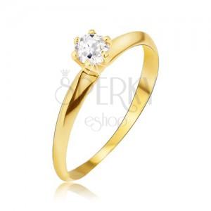 Zlatý prsteň 585 - lesklé hladké skosené ramená, číry kamienok