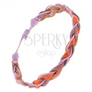 Kožený náramok na ruku, hnedé zapletané pásy a fialová šnúrka