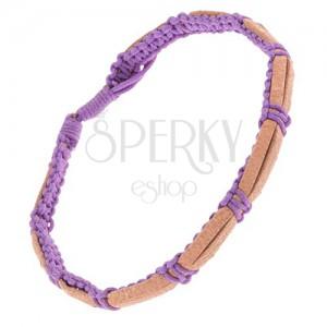 Náramok na ruku - hnedé kožené pruhy, zapletaná fialová šnúrka