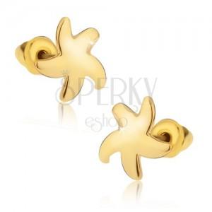 Puzetové náušnice, lesklá hviezdica zlatej farby