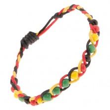 Šnúrkový pletenec žlto-červeno-čiernej farby s farebnými korálkami