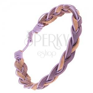 Zapletaný kožený remienok na ruku, béžové a levanduľové pásy