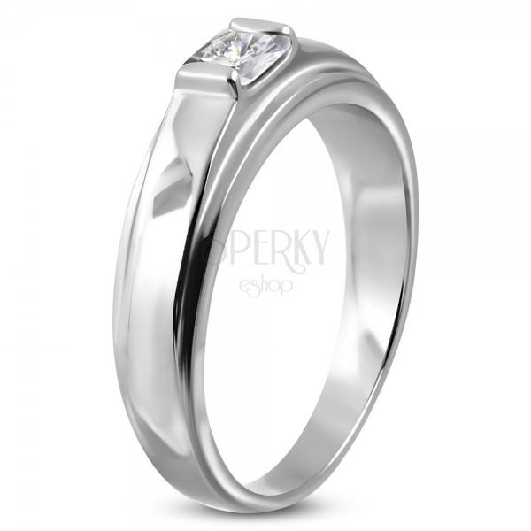 Zásnubný prsteň z chirurgickej ocele, štvorcový zirkón na vyvýšenom podklade