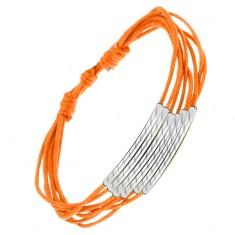 Šperky eshop - Oranžový šnúrkový náramok, lesklé rúrky so šikmými zárezmi S10.11