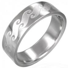 Prsteň z chirurgickej ocele s matnými vlnami