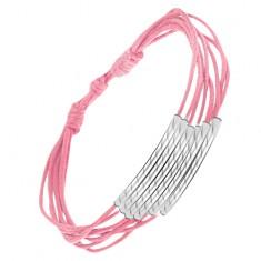 Šperky eshop - Multináramok zo svetloružových šnúrok, rúrky so zárezmi S10.08