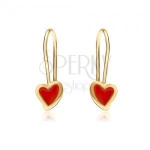 Zlaté náušnice 375 - lesklé nepravidelné srdce, červená glazúra