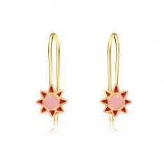 Šperky eshop - Náušnice zo žltého 9K zlata - ružovo-červený glazúrovaný kvietok GG02.25