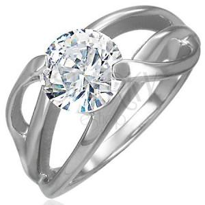 Zásnubný prsteň s priečnym úchytom a okrúhlym čírym zirkónom, oceľ 316L