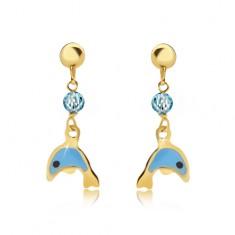 Šperky eshop - Náušnice zo žltého 9K zlata - glazúrovaný modrý delfín, ligotavá gulička GG02.39