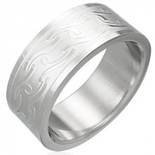 Prsteň z chirurgickej ocele s matnými pruhmi rôzneho tvaru