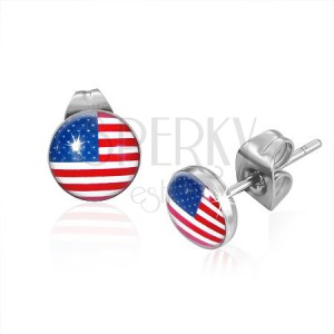 Okrúhle oceľové náušnice, americká vlajka