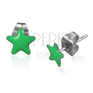 Puzetové oceľové náušnice, zelené glarúzované hviezdy